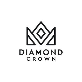 Elegantes diamantkronen-logo-design mit einfacher linie