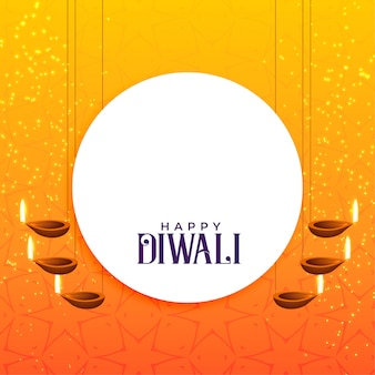 Elegantes diwali-kartendesign mit hängender diya-dekoration