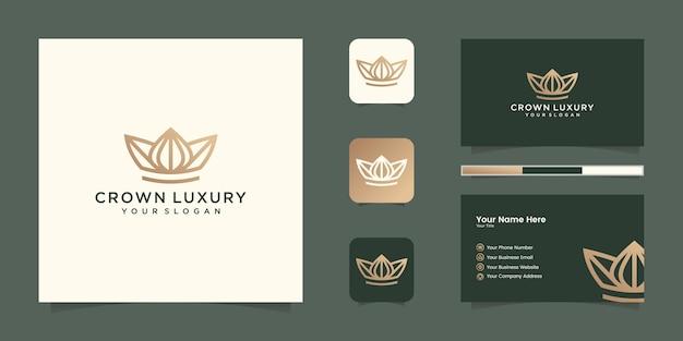 Elegantes einfaches logo-kronendesign, symbol für königreich, könig und führer und visitenkarte