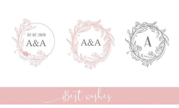 Elegantes feminines rundes logo. blumenrahmen, initialen. lineart.