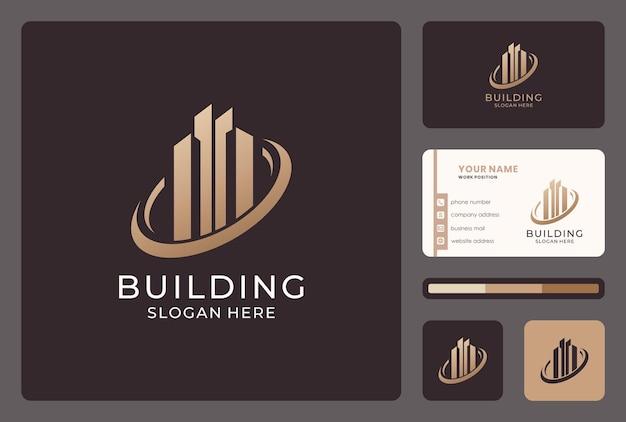 Elegantes gebäude-logo-design mit visitenkartenvorlage.