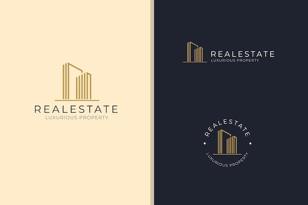 Elegantes gebäude real estate luxuriöses immobiliengeschäft firmenlogo vektor-design-vorlagenset