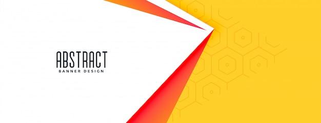 Elegantes geometrisches bannerdesign der gelben farbe des 3d-stils