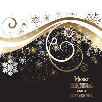 Elegantes gold und schwarzer weihnachtshintergrund