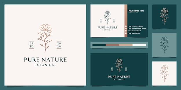 Elegantes goldenes blumenlogo-design und visitenkarte der blühenden schönheit