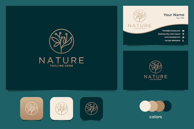 Elegantes goldenes naturlogo-design und visitenkartenschablone