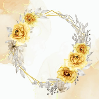 Elegantes goldgelbes rosenblumenkranzaquarell