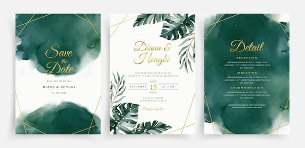 Elegantes grünes aquarell und tropische blätter auf satzhochzeitskartenschablone