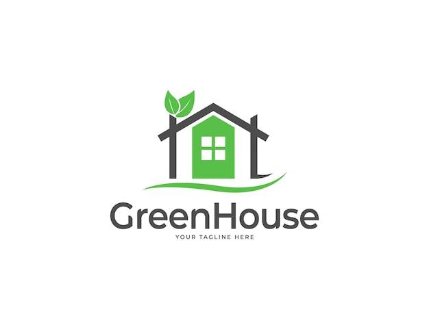 Elegantes grünes haus- oder heimlogodesign mit blättern