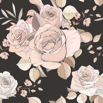 Elegantes handgezeichnetes blumen- und blätter nahtloses muster