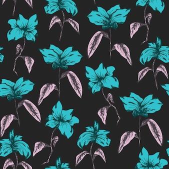 Elegantes helles muster mit blauen skizzenblumen