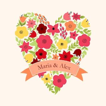 Elegantes herz mit gelben und rosa blüten. hochzeitseinladung