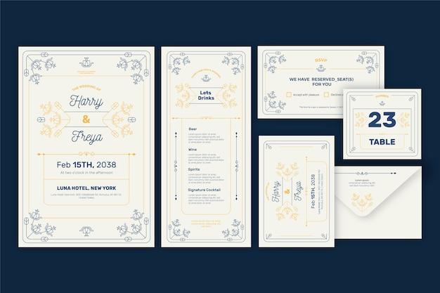 Elegantes hochzeitsbriefpapierset