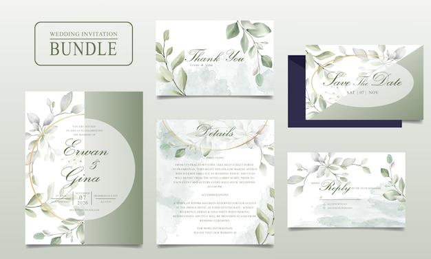 Elegantes hochzeitseinladungskartenbündel mit grünen blättern