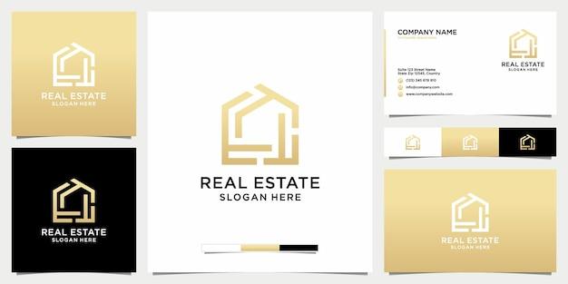 Elegantes immobilienlogo mit geometrischem stil