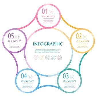 Elegantes infografik-design mit bunten dünnen linienelementen