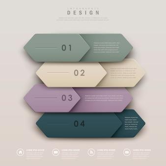 Elegantes infografik-vorlagendesign mit einer reihe von lederetiketten