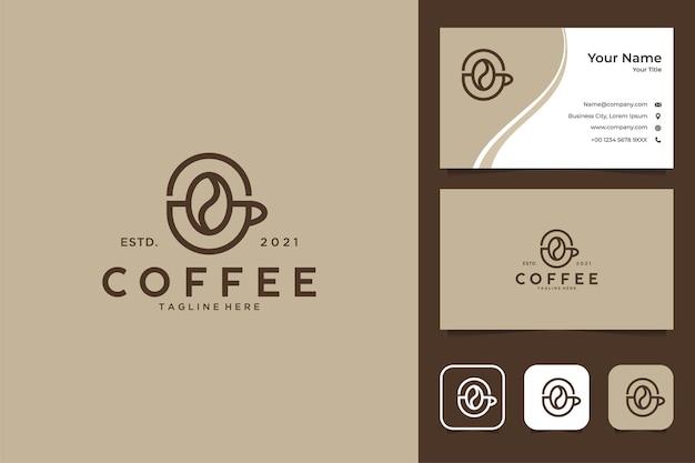 Elegantes kaffee-logo-design und visitenkarte