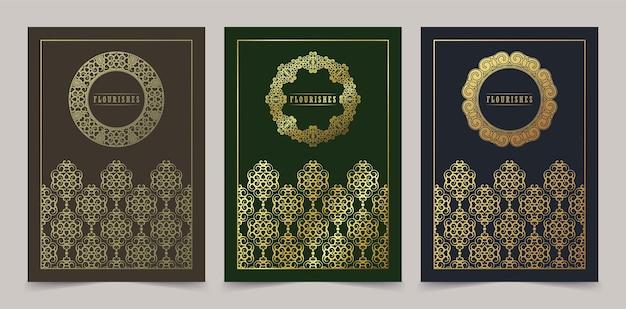 Elegantes kartenschablonendesign mit dekorativem randrahmen der goldenen verzierung