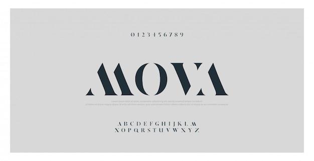 Elegantes klassisches alphabet beschriftet guss und zahl
