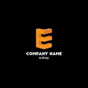 Elegantes konzept-logo-design mit stilisiertem geometrischem 3d-buchstaben e orange farbe