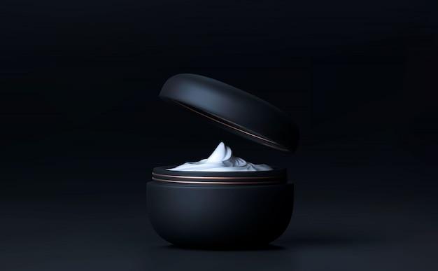 Elegantes kosmetisches gesicht crem glas für hautpflege auf schwarzem hintergrund. schöne kosmetische vorlage für anzeigen. marke für make-up-produkte. realistisches schwarzes mattes kosmetikglas 3d 3d