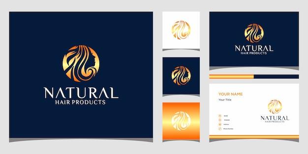 Elegantes logo des gesichtsmädchens für schönheit, kosmetik, yoga und spa. logo-design und visitenkarte