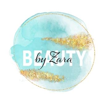 Elegantes logo für schönheitssalon mit handgemaltem aquarelldesign mit glitzernden goldelementen