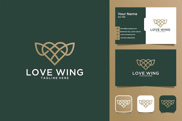 Elegantes love wing line art logo design und visitenkarte