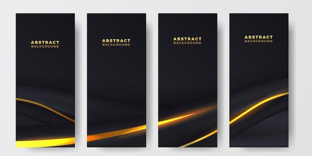 Elegantes, luxuriöses, abstraktes social-media-geschichten-banner mit dunklem hintergrund mit goldener, flüssiger wellendekoration