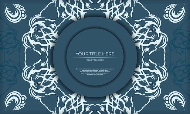Elegantes luxusdesign auf blauem hintergrund. geeignet für etiketten, verpackungen, parfums, lotionen, seifen, süßigkeiten, schokolade.