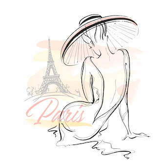 Elegantes mädchen in einem hut in paris. stilvolles modell.