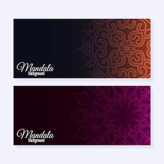 Elegantes mandala-banner mit farbverlauf