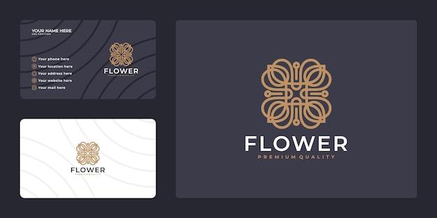 Elegantes minimalistisches blumenlogo-design und gebrauchsfertiges visitenkartendesign