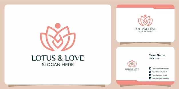 Elegantes minimalistisches lotuslinien-logo mit visitenkarten-branding