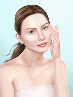 Elegantes modellporträt, attraktive frau für medizinische oder kosmetische anzeigen, die in der 3d-illustration verwendet werden