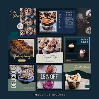 Elegantes modernes kuchen-social-media-posts-vorlagenpaket