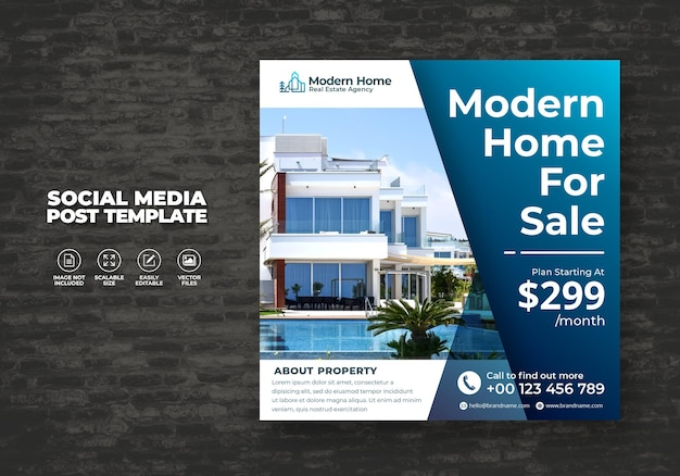 Elegantes modernes traumhaus zu hause zu vermieten immobilien sozialmedien postvorlage