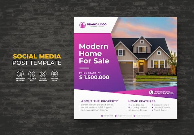Elegantes modernes traumhaus zum verkauf immobilienkampagne sozialmedien postvorlage