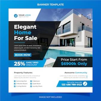 Elegantes modernes traumhaus zur miete verkauf immobilienkampagne social media instagram beitragsvorlage media