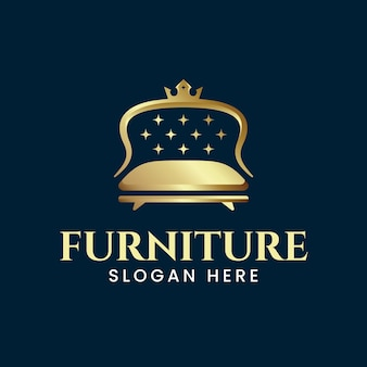 Elegantes möbellogo mit goldener couch
