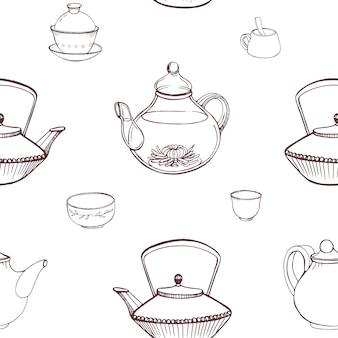 Elegantes monochromes nahtloses muster mit traditionellen japanischen teezeremoniewerkzeugen, die von hand mit konturlinien auf weißem hintergrund gezeichnet werden - teekanne, tassen oder schalen, tetsubin-kessel. illustration.
