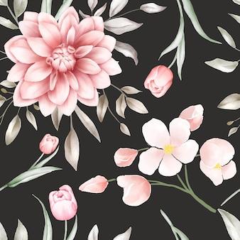 Elegantes nahtloses aquarellblumenmuster