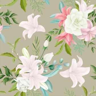 Elegantes nahtloses blumenmuster mit schöner handzeichnungsblume und -blättern