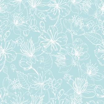Elegantes nahtloses blumenmuster mit zarten blühenden blumen der japanischen sakura-baumhand gezeichnet mit weißen linien auf blauem hintergrund. illustration für tapete, textildruck, geschenkpapier.