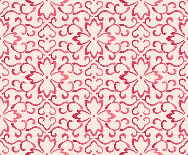 Elegantes nahtloses blumenmustermuster der botanischen kurve im chinesischen stil. traditionelles retro-tapetendesign.
