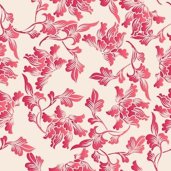 Elegantes nahtloses botanisches blattmuster im chinesischen stil. traditionelles retro-tapetendesign.