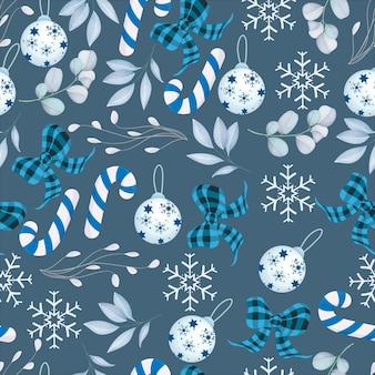 Elegantes nahtloses muster der frohen weihnachten mit weißer weihnachtsverzierung