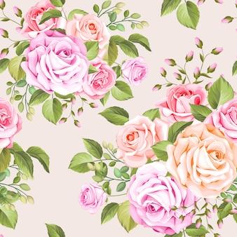 Elegantes nahtloses muster der rosen und der blätter