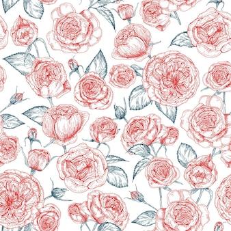 Elegantes nahtloses muster mit blühender hand der provence rosen gezeichnet mit konturlinien auf weißem hintergrund